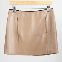 a.l.c. Taupe Pebbled Deer Leather Women's Front Pocket a-Line Mini Skirt Size 4 Photo