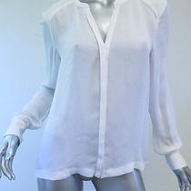 a.l.c. v-Neck Hidden Button Blouse White Size Medium Gently Worn Photo