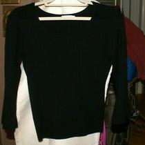 a.l.c Womens Black Knit 3/4 Sleeve Flared Crop Sweater Top Size Large 94% Merino Photo