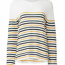 a.l.c. Womens Sweater White Size Small S Pullover Wool Striped Ribbed 325- 609 Photo