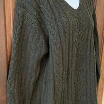 A Line Anne Klein 100% Lambs Wool Deep Dark Green Sweater Fisherman Cable M Photo