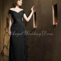 A-Line Floor Length Chiffon Charmeuse Mother of the Bride Black Dress Sz 10-12  Photo