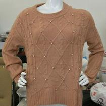 A New Day Blush Cable Knit Rhinestone Sweater Size S Photo