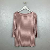 A New Day Plus Size Xxl Blush Pink White Stripe Shirt 3/4 Sleeve Stretch Photo