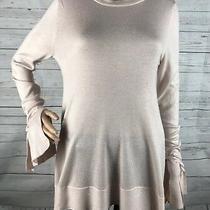 A New Day Tunic Sweater Medium Pale Pink Blush Bell Sleeve Thin Knit Soft Photo