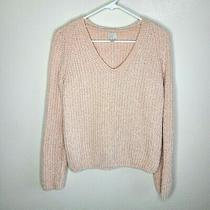 A New Day Womens Chenille Super Soft Pullover v-Neck Knit Sweater Blush Size Xs Photo
