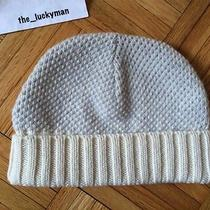 a.p.c. 100% Wool Knit Hat Beanie Cap Two-Tone Beige & Light Blue S Small Photo