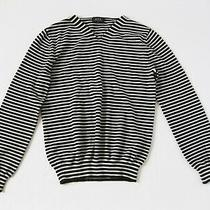 a.p.c. Apc Knitted Navy Black Striped v Neck Cotton Pullover Sweater Sz 2 Small Photo