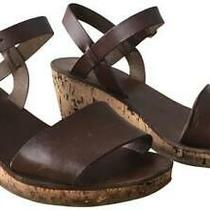 a.p.c. Brown Leather Strappy Sandal Cork Wedges - Size 36 (6) Photo