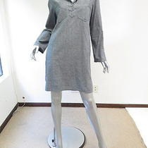 a.p.c. Chambray Collared Tunic Dress Pale Grey Size Large Gently Worn Photo