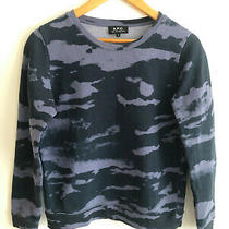 a.p.c Navy Blue Camouflage Sweatshirt Unisex Size S Photo
