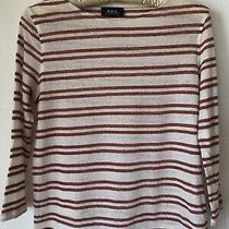 a.p.c Red/cream Striped Top - Size Small in Linen/cotton. Worn Once. Photo