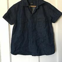 a.p.c Rue De Fleurus Paris Size 33 Blue Denim Short Sleeve Shirt. (T10) Photo
