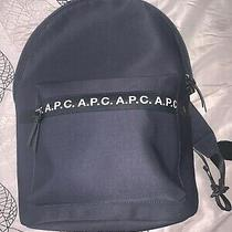 a.p.c. Savile Logo Print Tape-Trimmed Tech Canvas Backpack Navy Photo