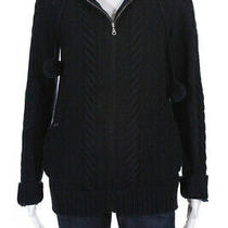 a.p.c. Womens Cable Knit Full Zipper Hoodie Navy Blue Wool Size Large Photo