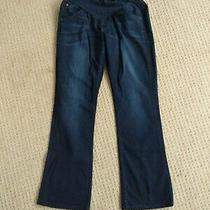 A Pea in the Pod X Hudson Dark Blue Maternity Jeans Full Band Flap Pocket Sz 31 Photo