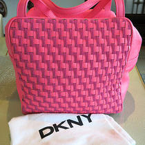 A Pop of Color for Fall Dkny Neon Pink Leather Woven Shoulder Bag Golf Photo