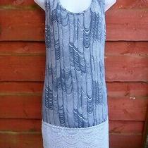 A Postcard From Brighton Longline Blue Grey Print Sleeveless Vest Top Size 2  Photo