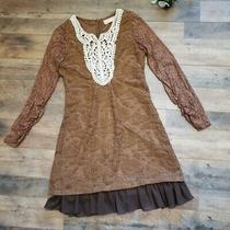 a'reve by Anthropologie Brown Long Sleeve Lace Textured Boho Dress Size Small Photo