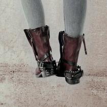 a.s.98 Smyth Liz Eggplant Italian Leather Boots Photo
