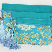A Set 3pcs Sky-Blue Zipper Embroider Silk Jewelry Bags Handbag Pouches T857a20 Photo