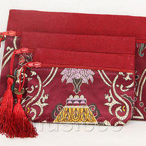 A Set 3pcs Wine Red Zipper Embroider Silk Jewelry Bags Handbag Pouches T854a20 Photo