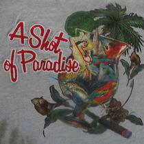 A Shot of Paradise Tommy Bahama Grey T Shirt Cigar Macaw Marlin Hula Dancer Euc Photo
