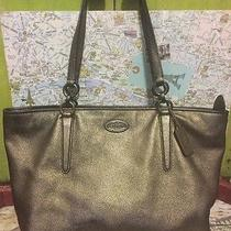 A Very Beautiful Silver Distressed Leather Coach Tote Bag Handbag So Awesome Photo