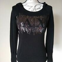 A/x Armani Exchange Sweater  Pullover Logo Sequin Embroidered Hoodie Black sz.m Photo