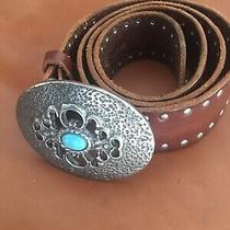 A/x Armani Exchange Turquoise Gem Stone Belt Buckle Embellished Leather Belt  Photo