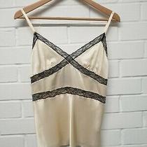A1. dolce&gabbana d&g Women's Silk  Cream & Black Camisole Vest Top Size Eur 40 Photo