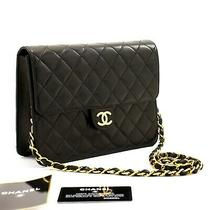 A14 Chanel Authentic Small Chain Shoulder Bag Clutch Black Quilted Flap Lambskin Photo