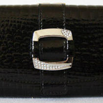 (A193) New Black Croc Leather Wallet Purse Clutch Bag Photo