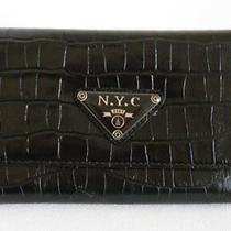 (A201) New Black Croc Wallet Purse Clutch Bag Photo