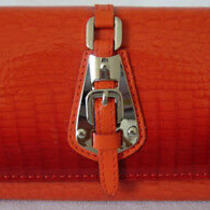 (A21) New Gorgeous Orange Croc Leather Wallet Purse Clutch Bag  Photo