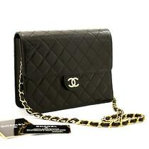 A22 Chanel Authentic Small Chain Shoulder Bag Clutch Black Quilted Flap Lambskin Photo