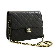 A33 Chanel Authentic Small Chain Shoulder Bag Clutch Black Quilted Flap Lambskin Photo