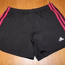 A3336 Womens Adidas Black Red Spandex Booty Athletic Shorts Stretch Bike Medium Photo