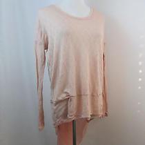 A34 Blush Pink New Romantics Free People Wool Blend Knit Chiffon Hem Sweater S Photo