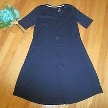 A351507 Isaac Mizrahi Navy  Pima Cotton Elbow Sleeve Dress New Small Photo