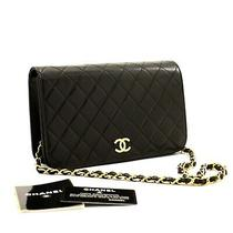 A38 Chanel Authentic Full Flap Chain Shoulder Bag Clutch Black Quilted Lambskin Photo