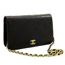 A45 Chanel Authentic Full Flap Chain Shoulder Bag Clutch Black Quilted Lambskin Photo
