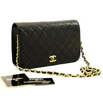 A56 Chanel Authentic Full Flap Chain Shoulder Bag Clutch Black Quilted Lambskin Photo