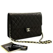 A63 Chanel Authentic Small Chain Shoulder Bag Clutch Black Quilted Flap Lambskin Photo