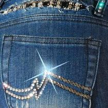 A7 Brand Swarovski Crystal Elements Size 25 Theressa Jeans 329 Photo