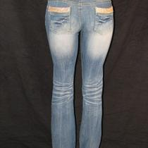 A7 Jeans - 30 - Gold  Fully Embellished With Swarovski Elements   Photo