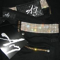 A7 Patricia Jeans Black - 28 -Gold- Fully Embellished With Swarovski Elements Photo