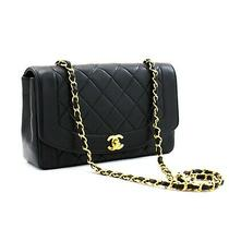 A72 Chanel Authentic Diana Flap Chain Shoulder Bag Black Quilted Lambskin Purse  Photo