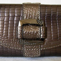 (A78) New Pewter Croc Leather Wallet Purse Clutch Bag Photo