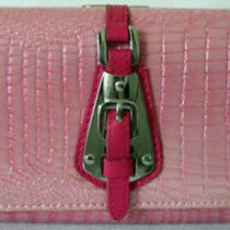 (A80) New Gorgeous Pink Croc Leather Wallet Purse Clutch Bag Photo